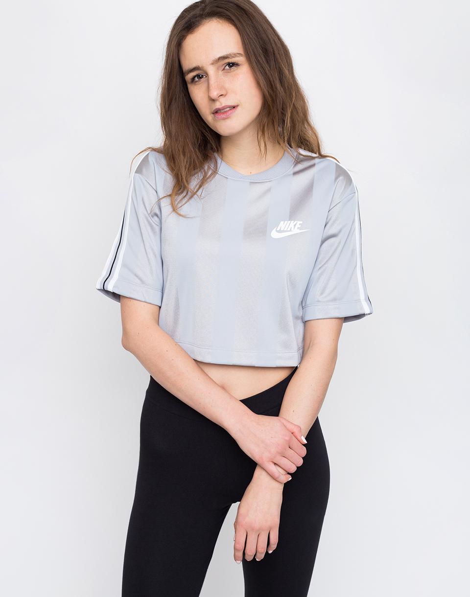 Nike Sportswear Shadow Stripe Top Wolf Grey/White XS