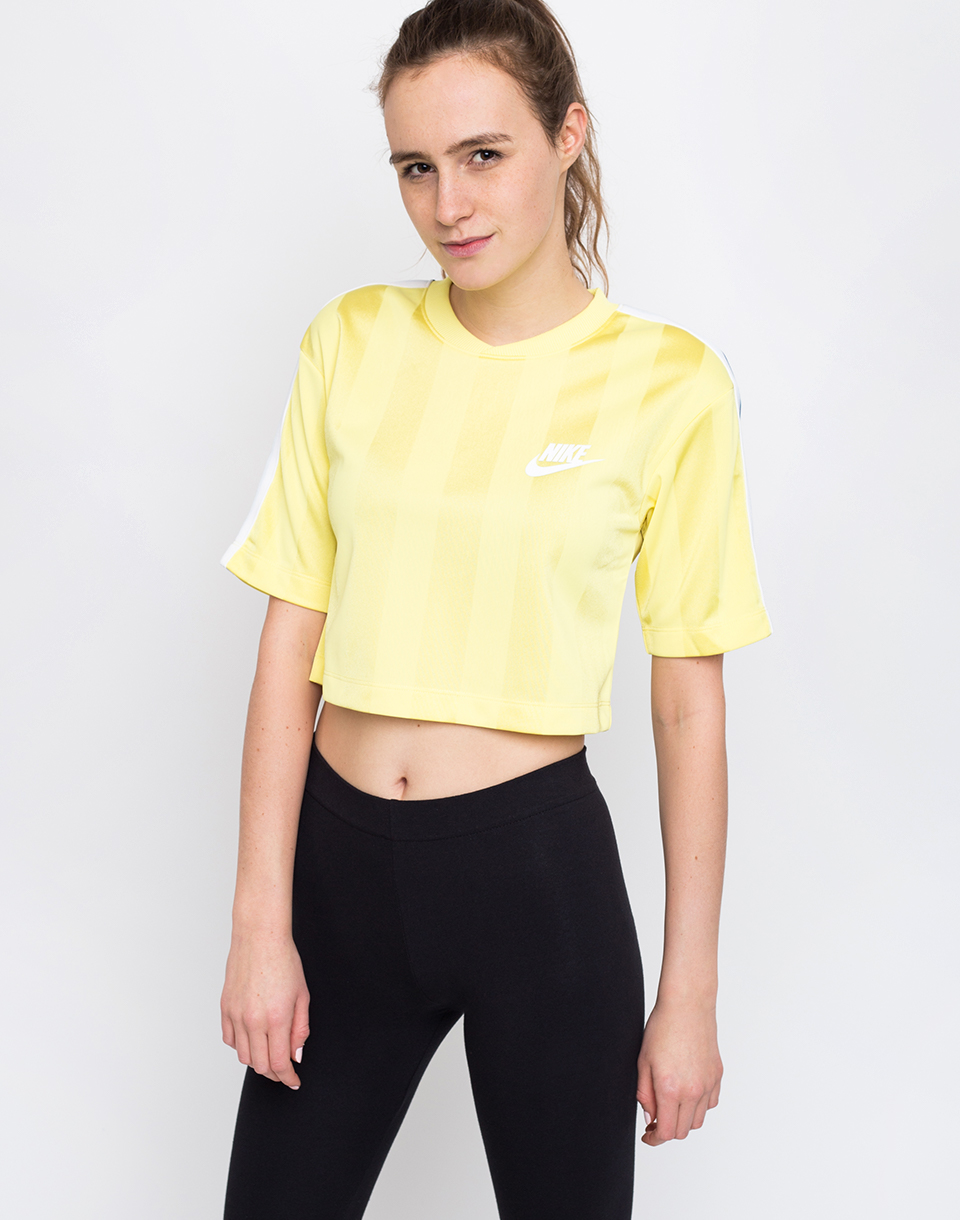 Nike Sportswear Shadow Stripe Top Yellow Pulse White M
