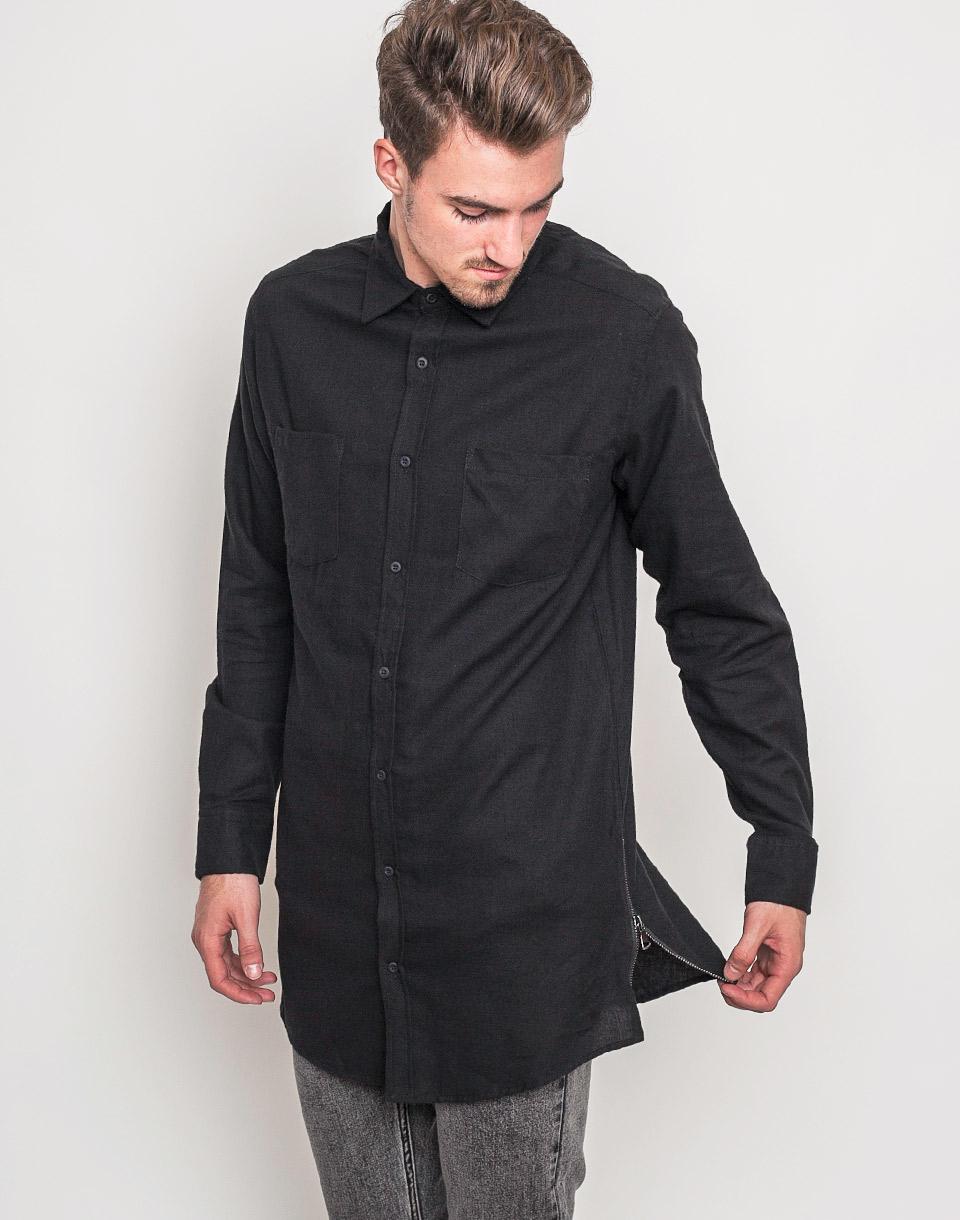 Košile Urban Classics Side-Zip Long black / black xl