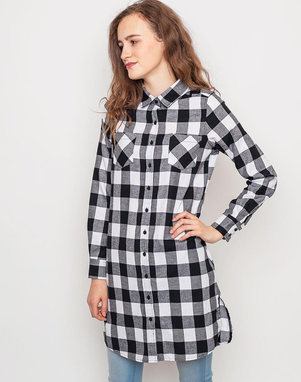 Šaty Urban Classics Checked Flanell Shirt Dress blk/wht l