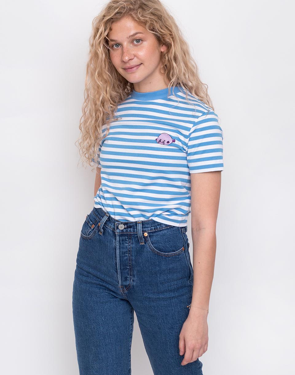 8c29d161866 Lazy Oaf Stripy Blob Fish T-shirt Blue L