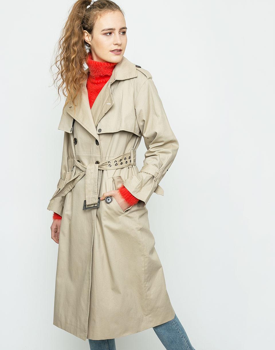 Kabát Neon Rose Oversized Canvas Beige m + doprava zdarma + novinka