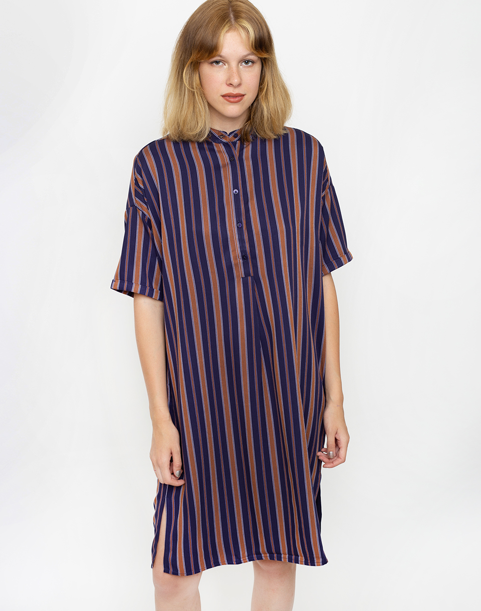 Armedangels Maarjuli Multicol Stripes 1217 Evening Blue Maroon XS