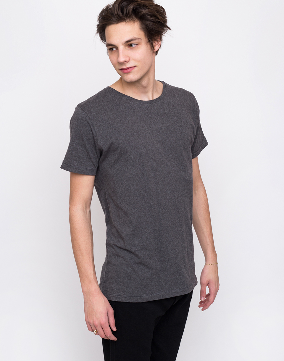 Knowledge Cotton Basic Regular Fit O Neck Tee 1073 Dark Grey Melange L