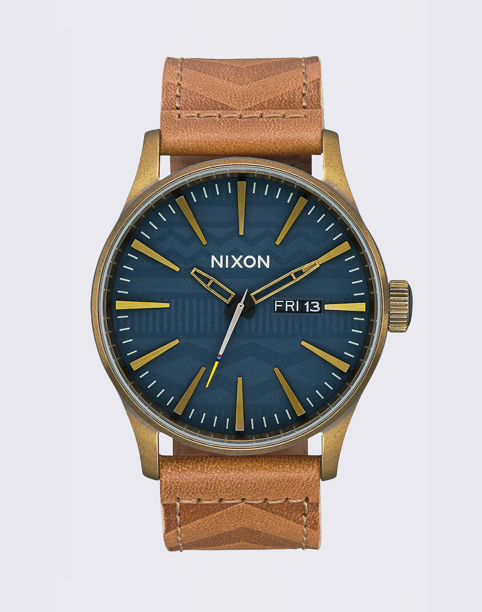 Nixon Sentry Leather Brass Navy Hickory 2ac81a6e98