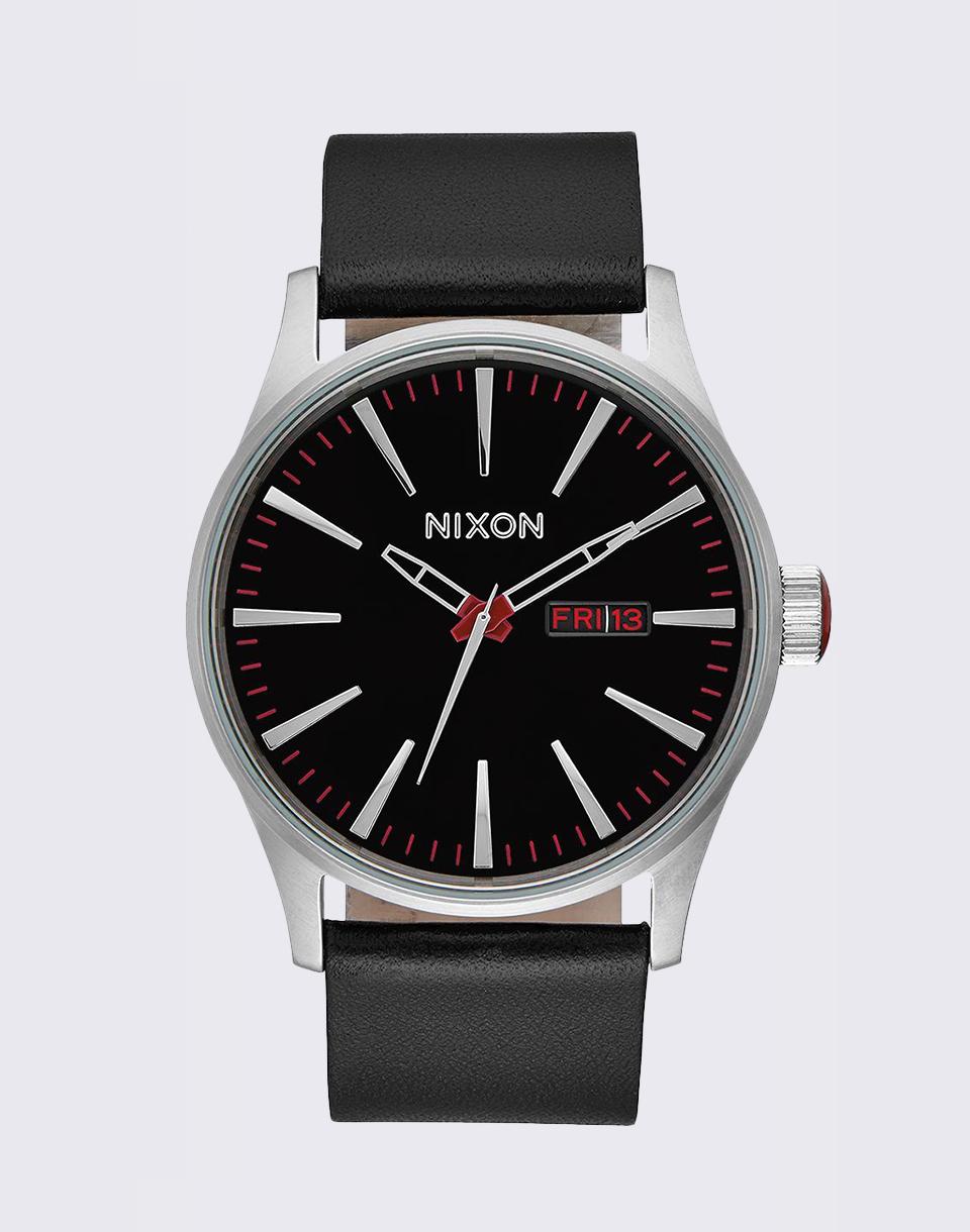 Hodinky Nixon Sentry Leather Black + doprava zdarma