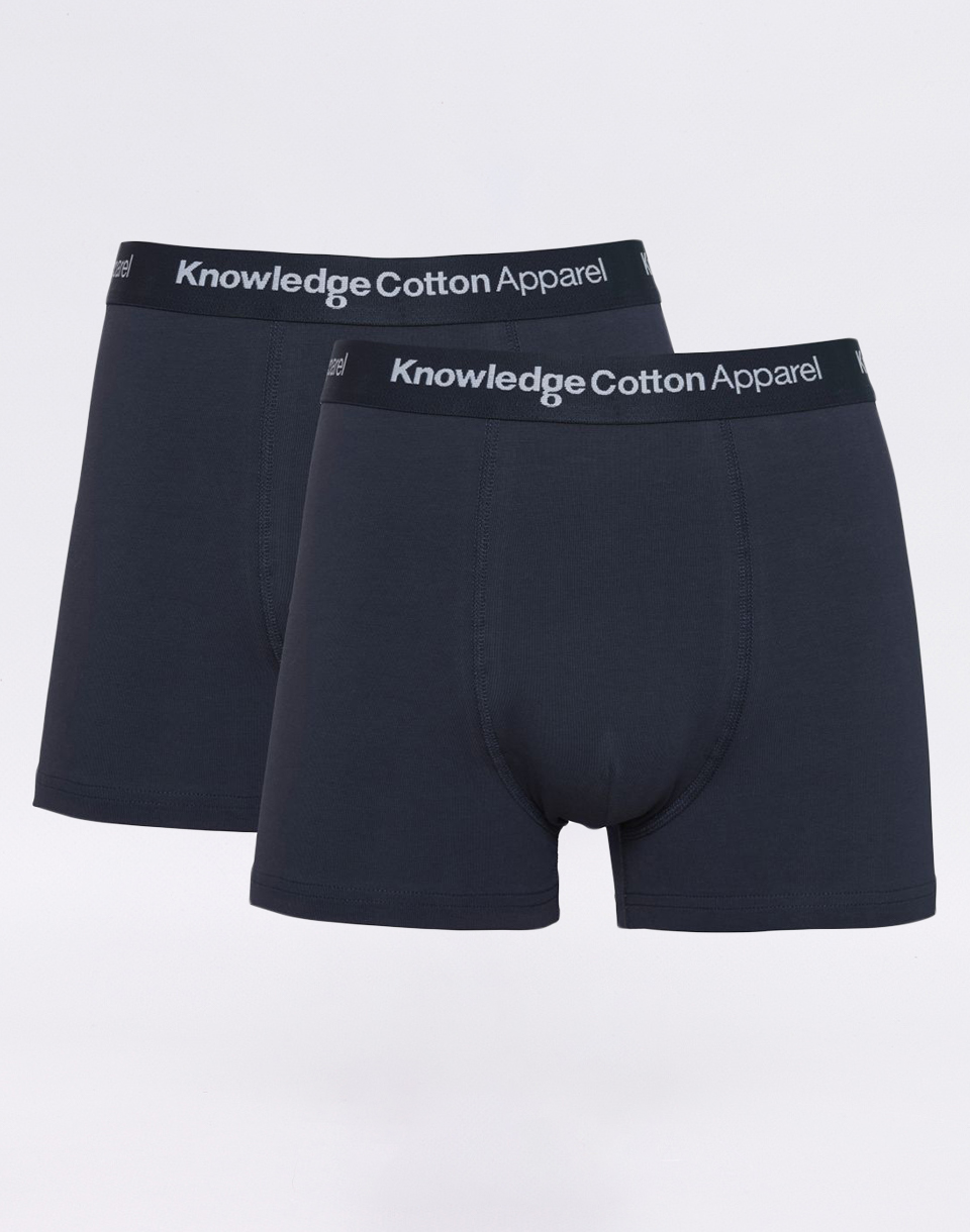 Knowledge Cotton 2 Pack Solid Colored Underwear With Navy Elastic 1001 Total Eclipse XL