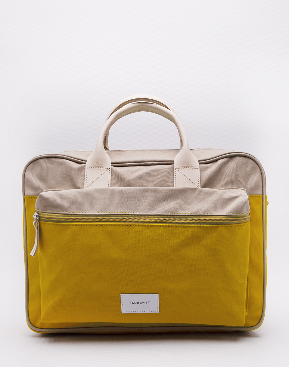 Sandqvist Emil Multi Yellow   Beige with Natural Leather