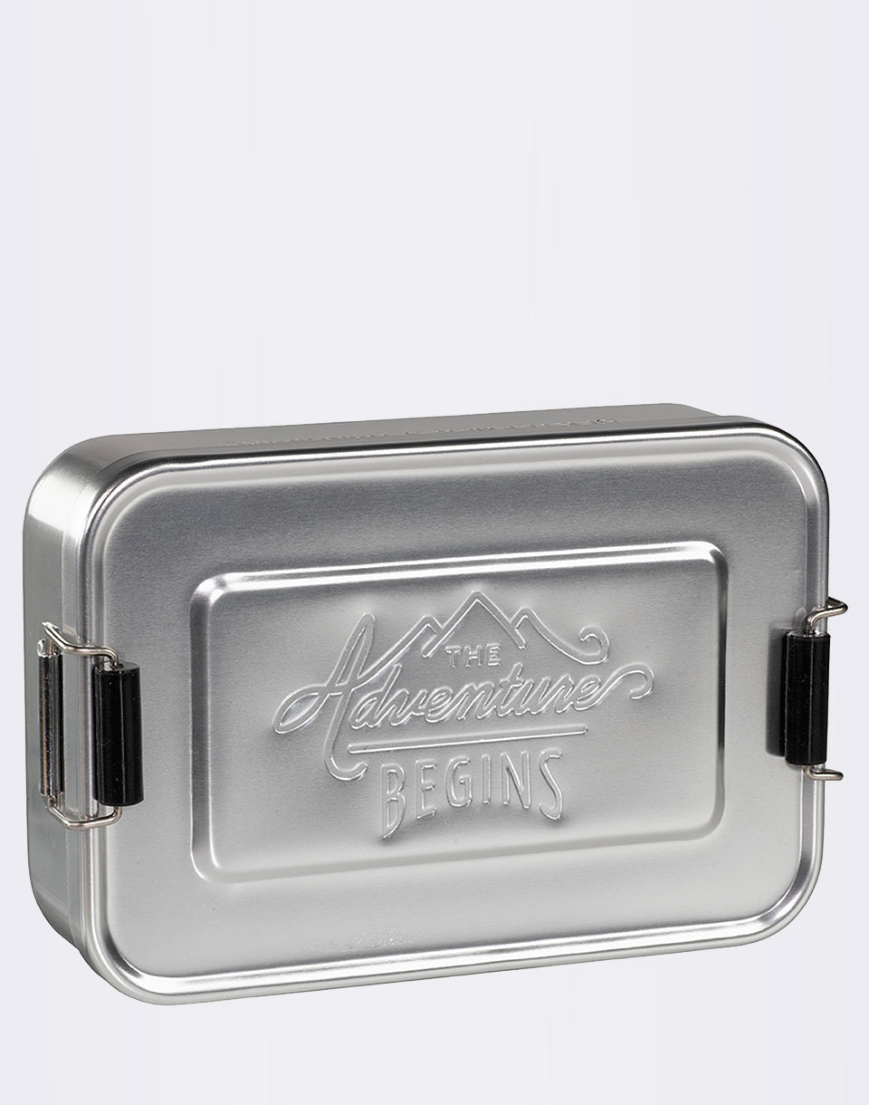 W   W Large Silver Lunch Tin GEN052