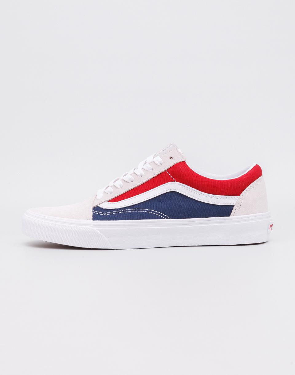 Vans Old Skool (Retro Block) White/Red/Dress Blues 45