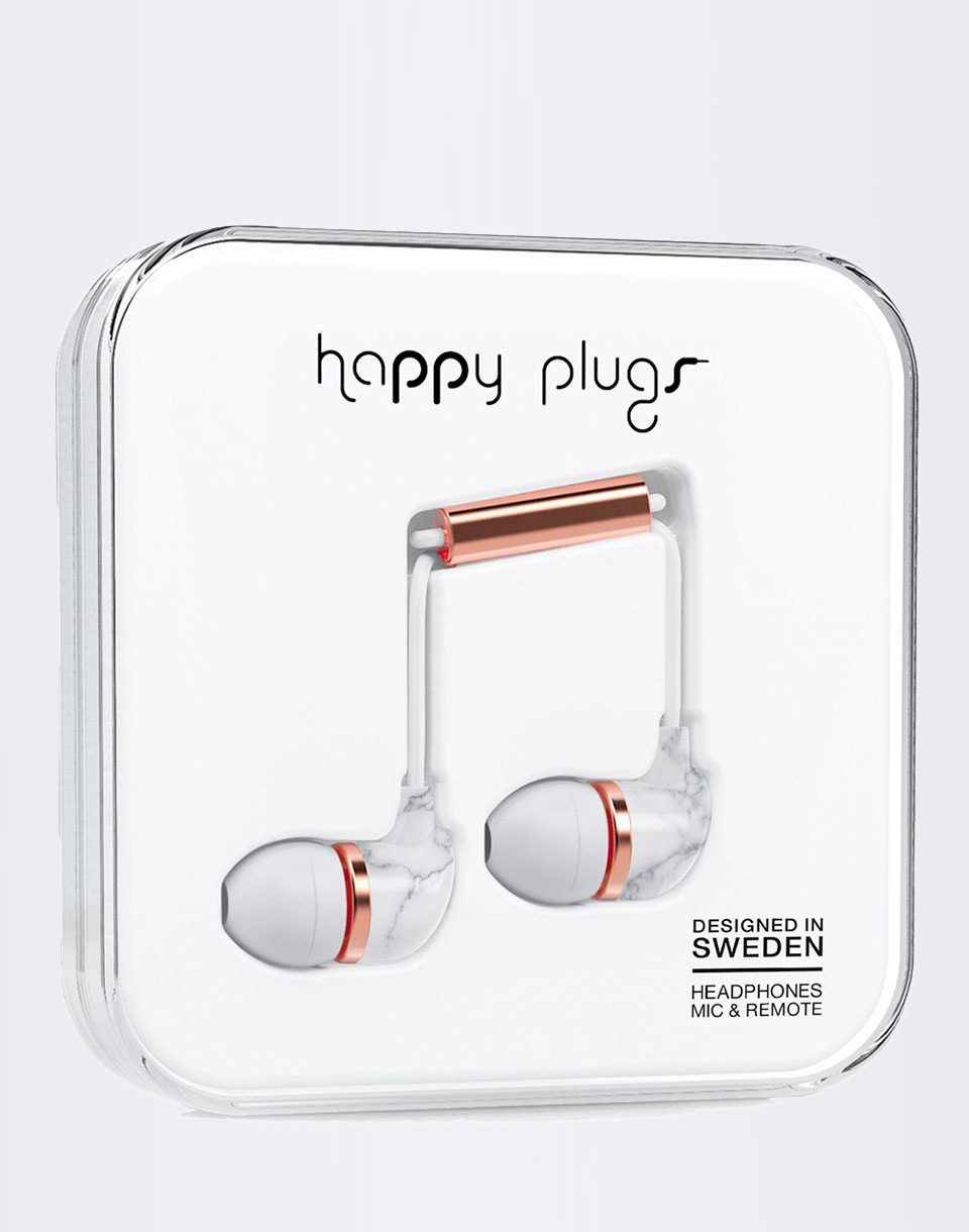 Sluchátka Happy Plugs In-Ear Carrara Marble Rose