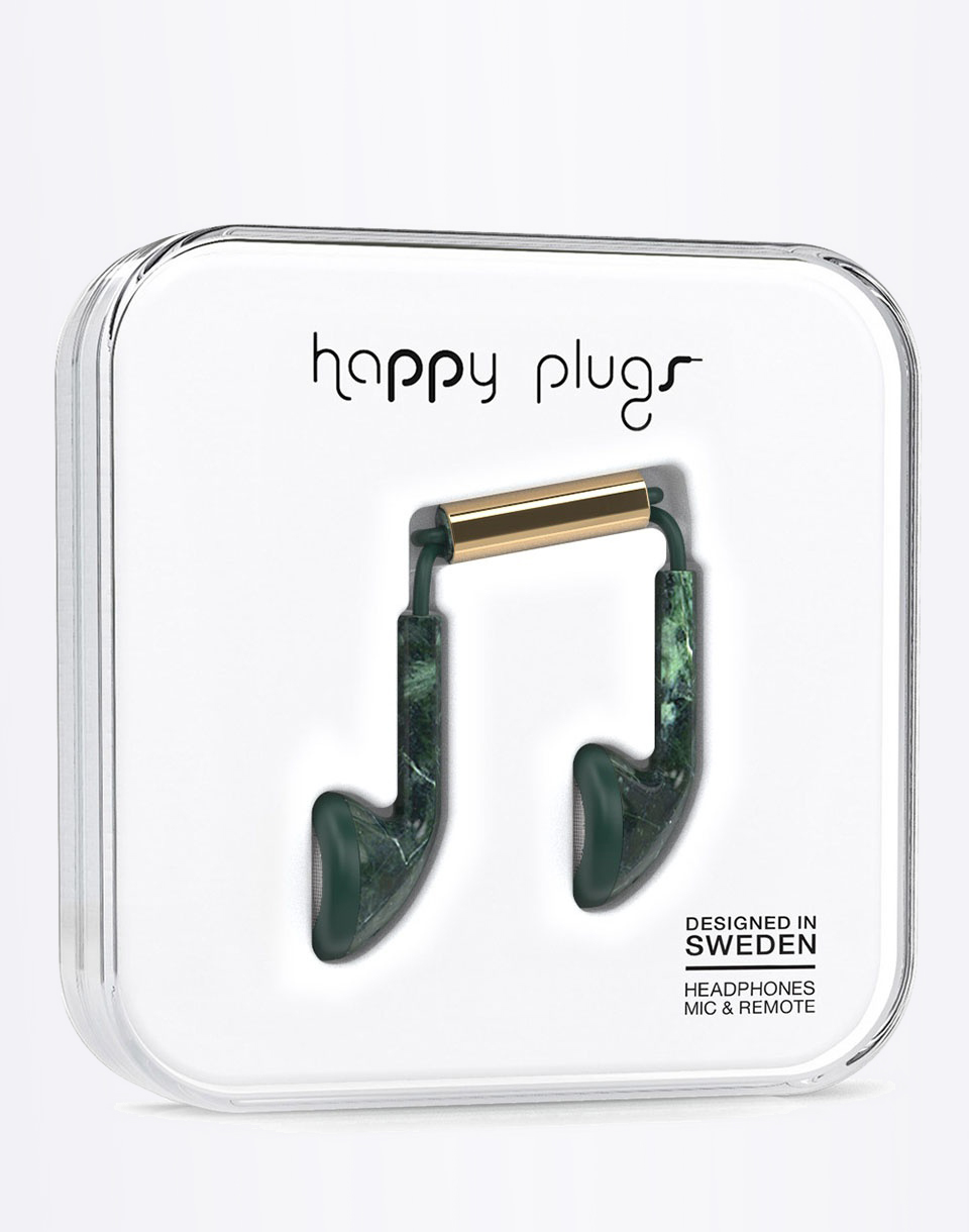 Sluchátka Happy Plugs Earbud Green Marble