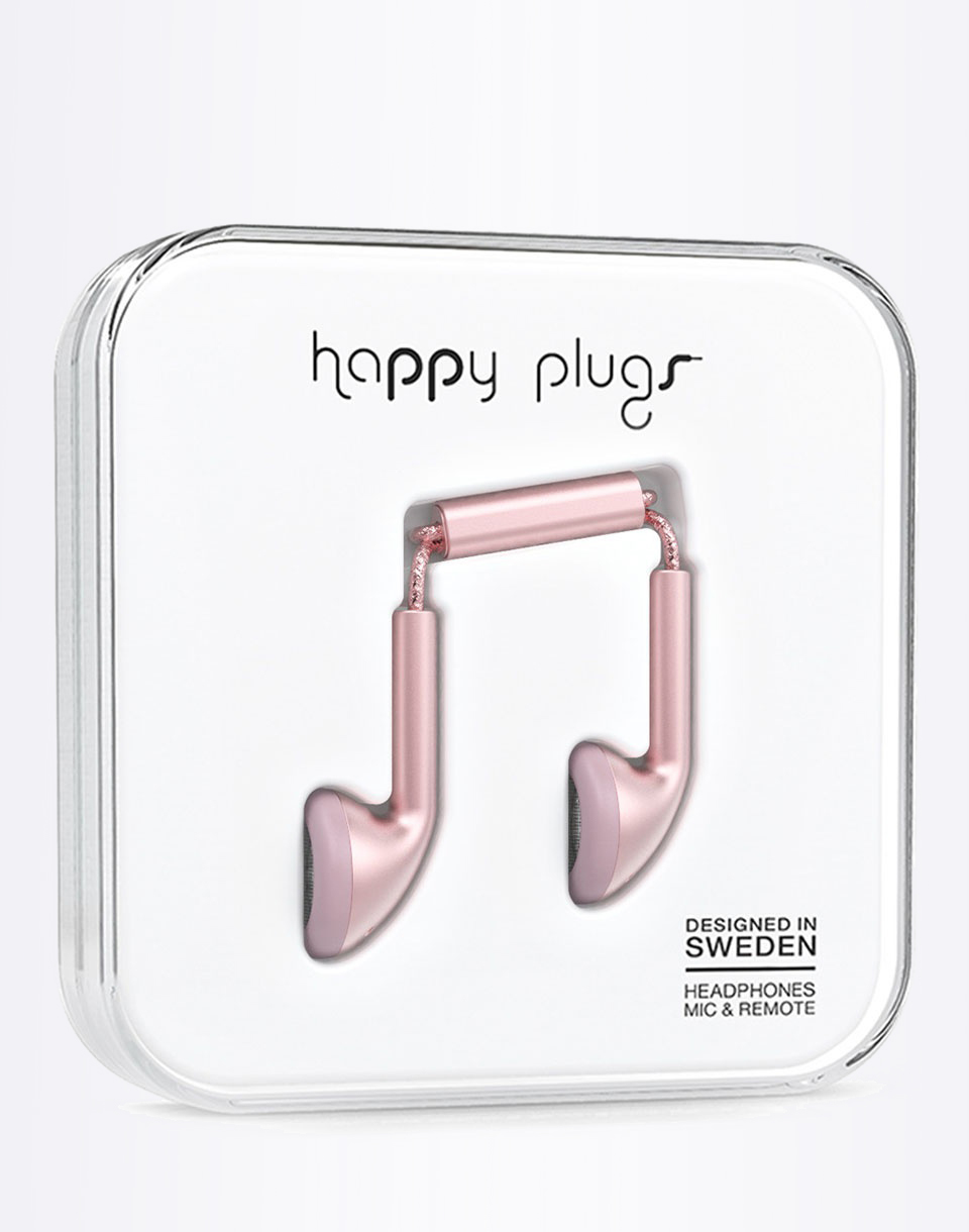 Sluchátka Happy Plugs Earbud Pink Gold