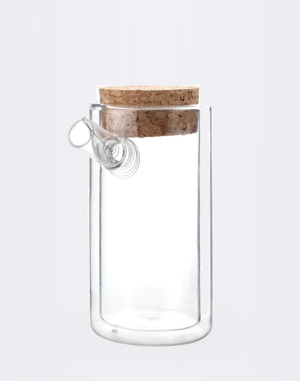 Kikkerland Ora Teapot Double Walled Glass Cork