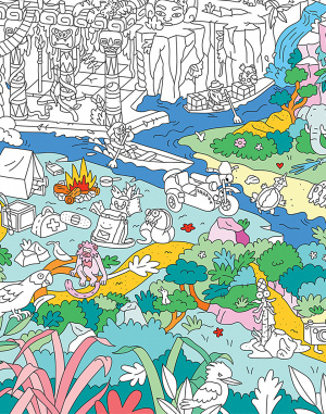 Paper Gift OMY Giant Coloring Poster - Jungle