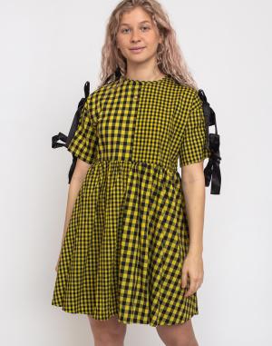 Šaty Lazy Oaf Yellow Tie Sleeve Smock Dress