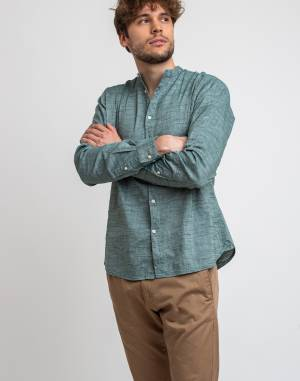 Košile Knowledge Cotton Larch Long Sleeve Linen Stand Collar Shirt