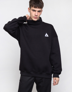 North Hill - Black Logo Turtleneck