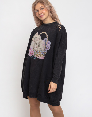 Šaty Lazy Oaf Basket O'cats Sweater Dress