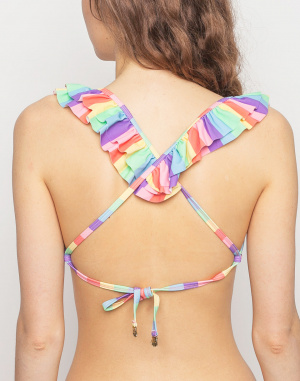 Plavky - Lazy Oaf - Frilly Rainbow Bikini Top