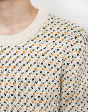 Knowledge Cotton - Jacquard O-Neck Knit