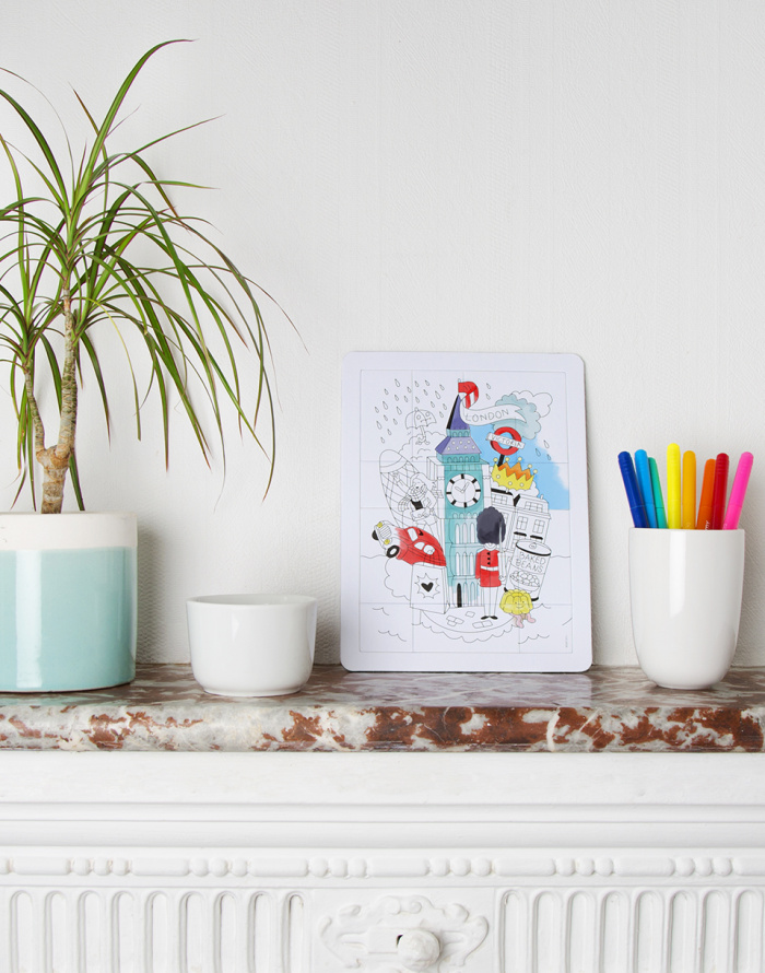 Paper Gift - OMY - Coloring Puzzle - London