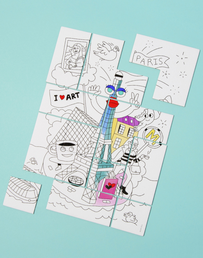 Paper Gift - OMY - Coloring Puzzle - Paris