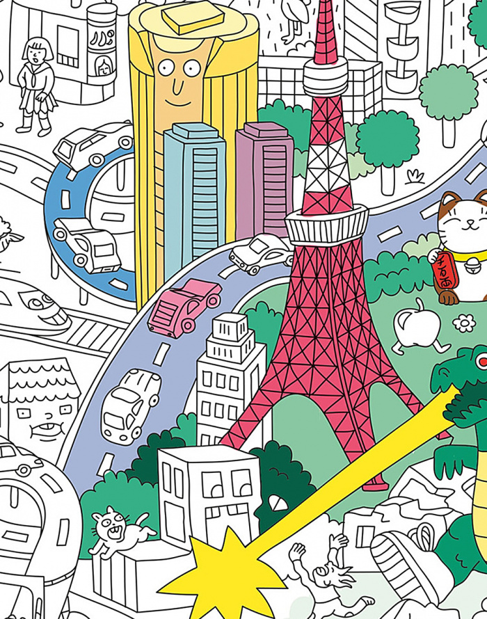 Paper Gift OMY Coloring Poster - Tokyo