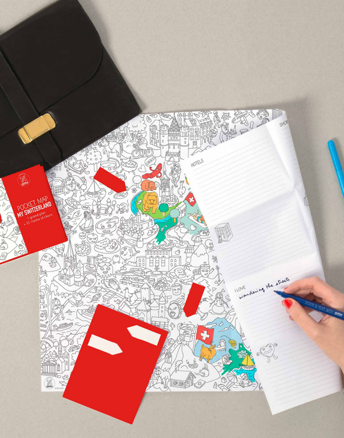 Paper Gift - OMY - Coloring Pocket Map - Switzerland