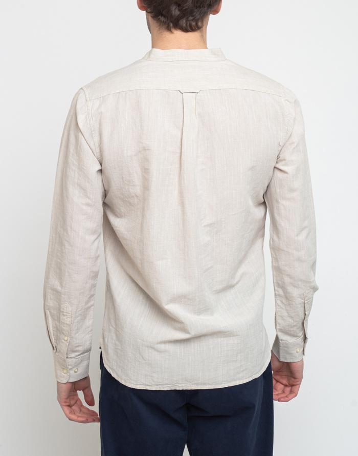 Jednobarevné Knowledge Cotton Larch Long Sleeve Linen Stand Collar Shirt