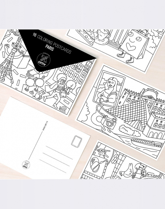 Paper Gift - OMY - 16 COLORING POSTCARDS - PARIS
