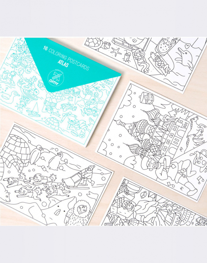 Paper Gift - OMY - 16 COLORING POSTCARDS - ATLAS