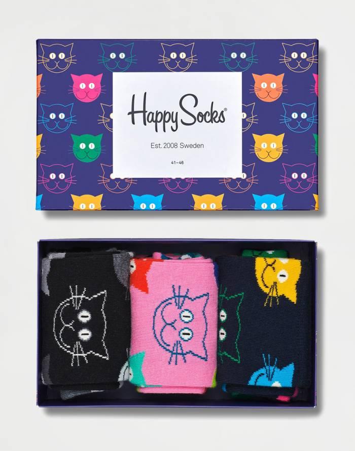 Ponožky Happy Socks 3-Pack Mixed Cats Gift Set