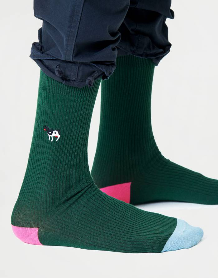 Ponožky Happy Socks Ribbed Embroidery Ying Yang Cow