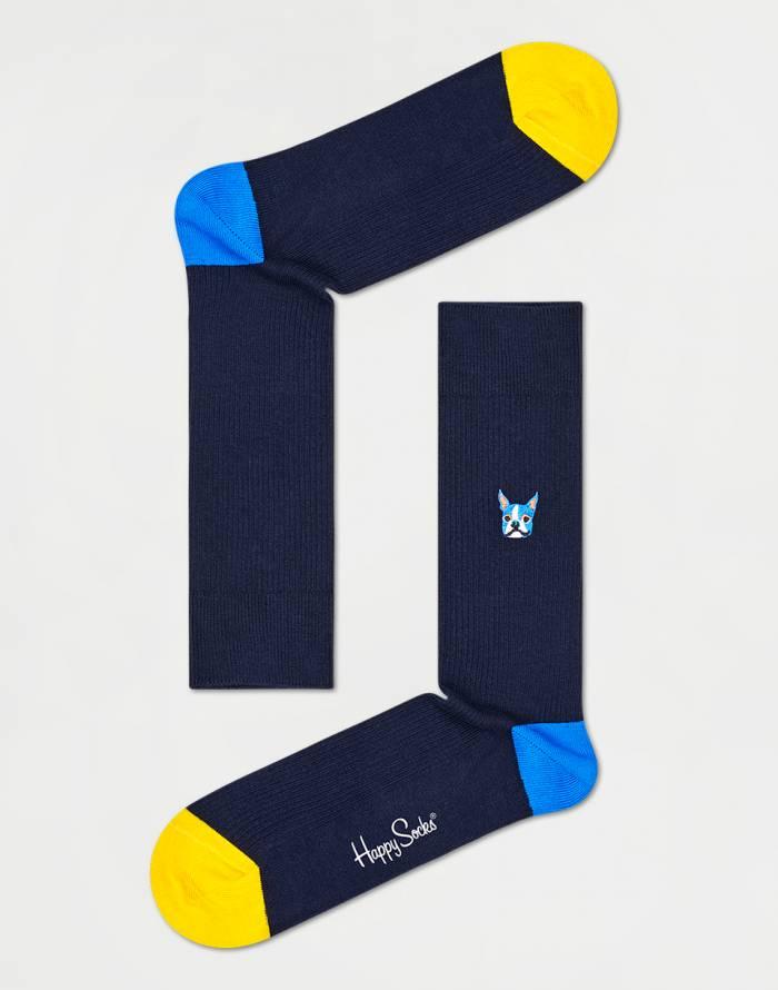 Ponožky Happy Socks Ribbed Embroidery Dog