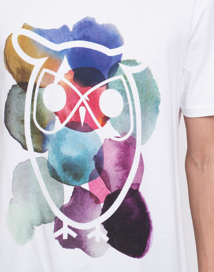 Triko - Knowledge Cotton - T-shirt With Owl And Dot Print