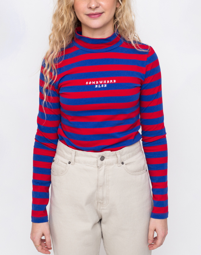 Triko - Lazy Oaf - Red & Blue Stripy