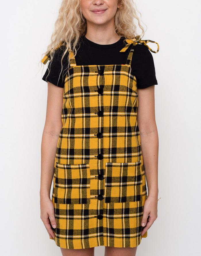 Šaty Lazy Oaf Yellow Check Pinny