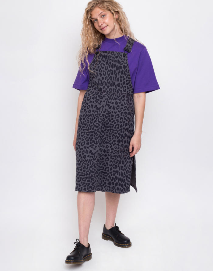 Šaty - Lazy Oaf - Grey Leoprd Pinafore Dress