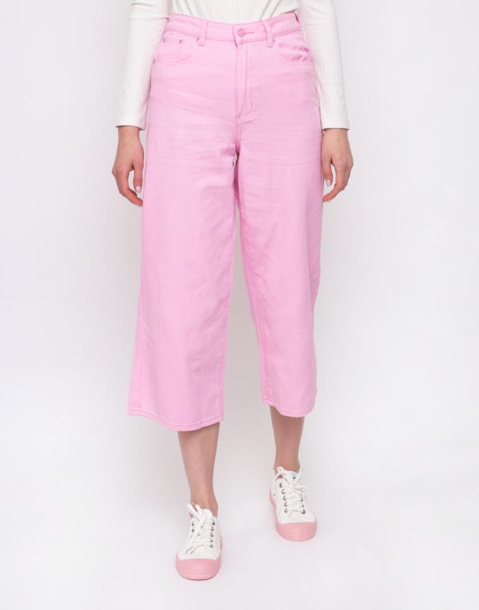 Kalhoty - Lazy Oaf - Pink Cropped Wide Leg Jeans