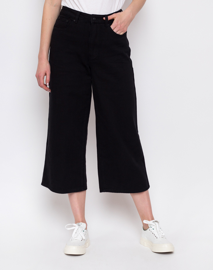Kalhoty - Lazy Oaf - Black Cropped Wide Leg Jeans