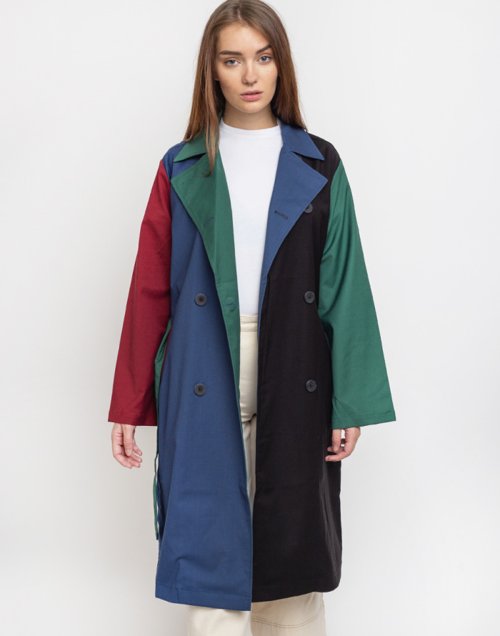Kabát Lazy Oaf Colour Panel Trench Coat