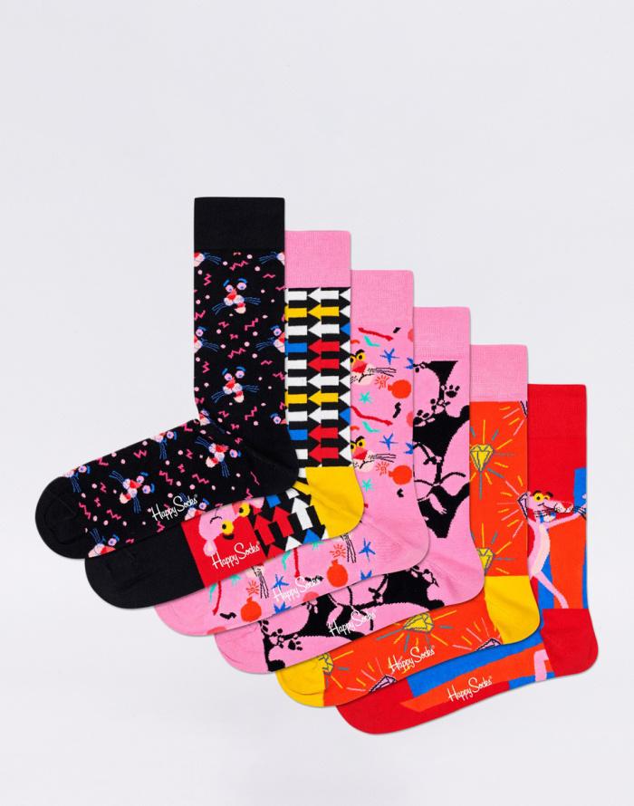 Dárkový set - Happy Socks - 6-Pack Pink Panther Collector Box Set